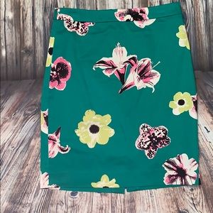 J Crew The Pencil Skirt Green Floral Skirt Punk